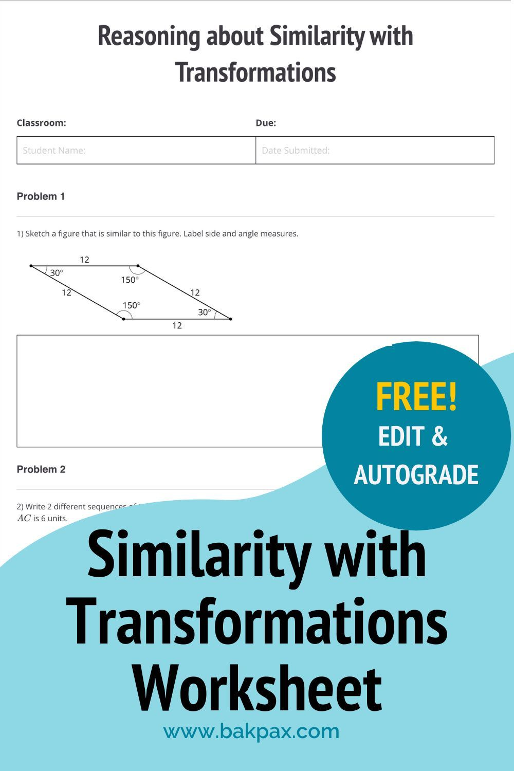 Free Similarity With Transformations Geometry Worksheet Geometry Worksheets Transformation Geometry Worksheets