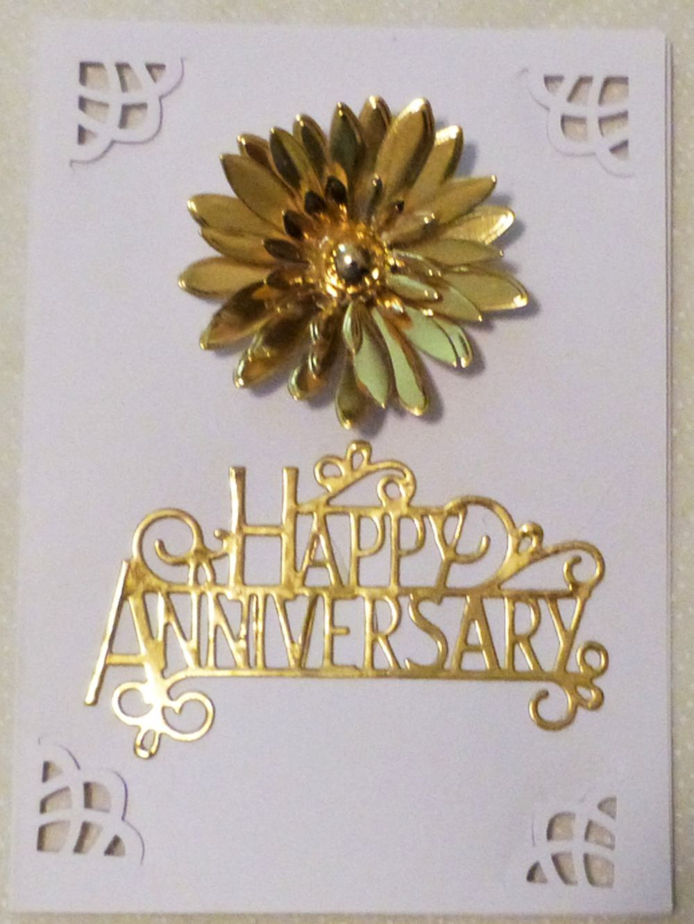 Gold Happy Anniversary Greeting Card With Gold Flower Handmade