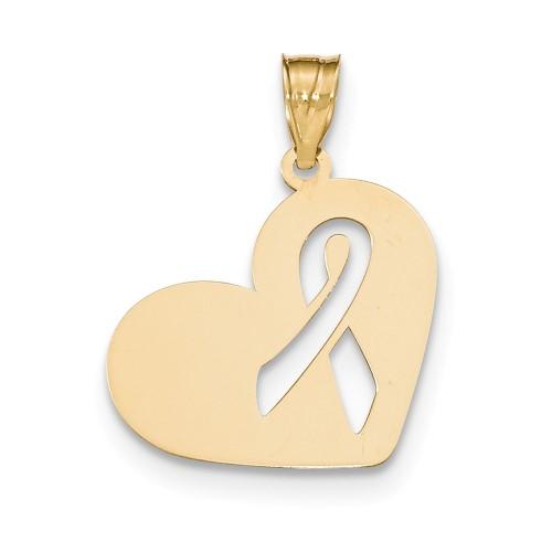 14k Yellow Gold Pink Enameled Awareness Ribbon Pendant.