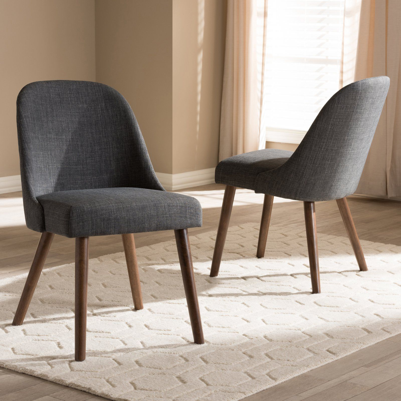 416df39e30ae Baxton Studio Cody Mid-Century Modern Fabric Upholstered Wood Dining Chair  - Set of 2 Dark Gray