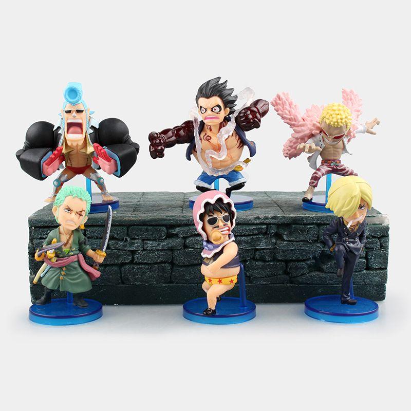 click to buy one piece action figures wcf luffy gear 4 doflamingo zoro 75mm model toys one piece anime franky sanji japane anime child chibi luffy gear 4