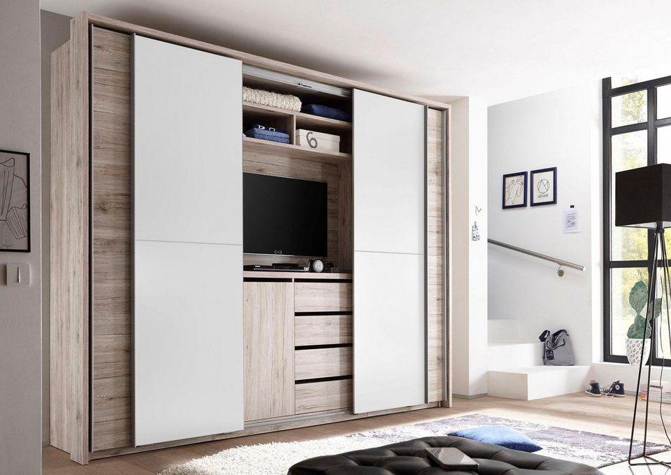 Schwebeturenschrank Mit Tv Fach Schlafzimmer Eingebaut