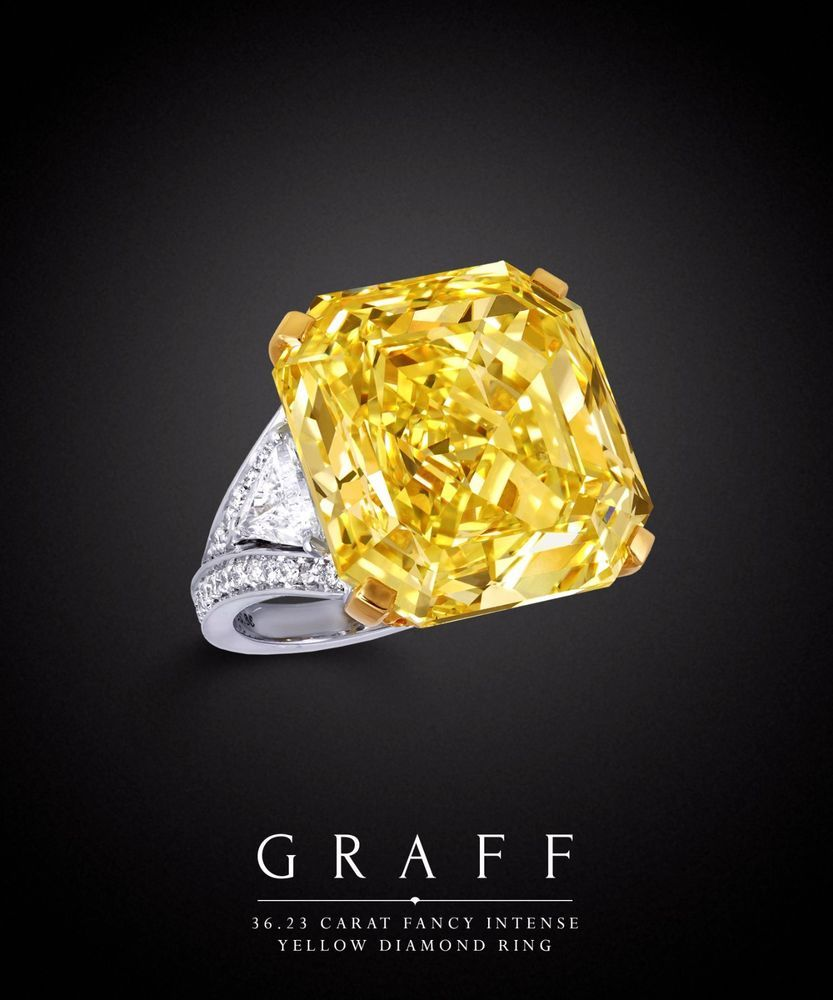 81a42a52becb3 GRAFF 36.23 carat Fancy Intense Yellow Diamond Ring Size 7 in 2019 ...