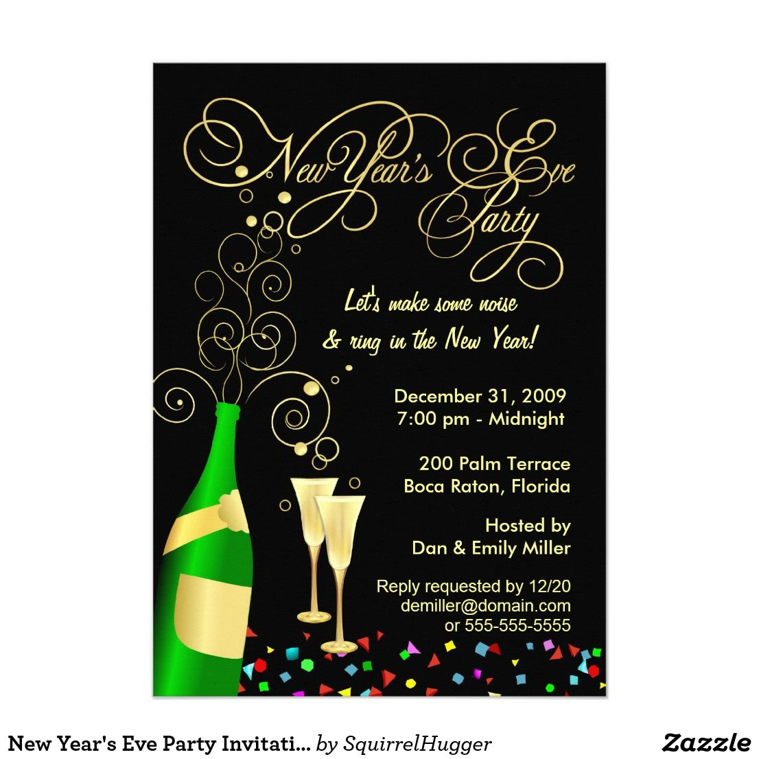 New Year S Eve Party Invitations Zazzle Com New Years Eve Invitations Party Invite Template New Years Eve Party