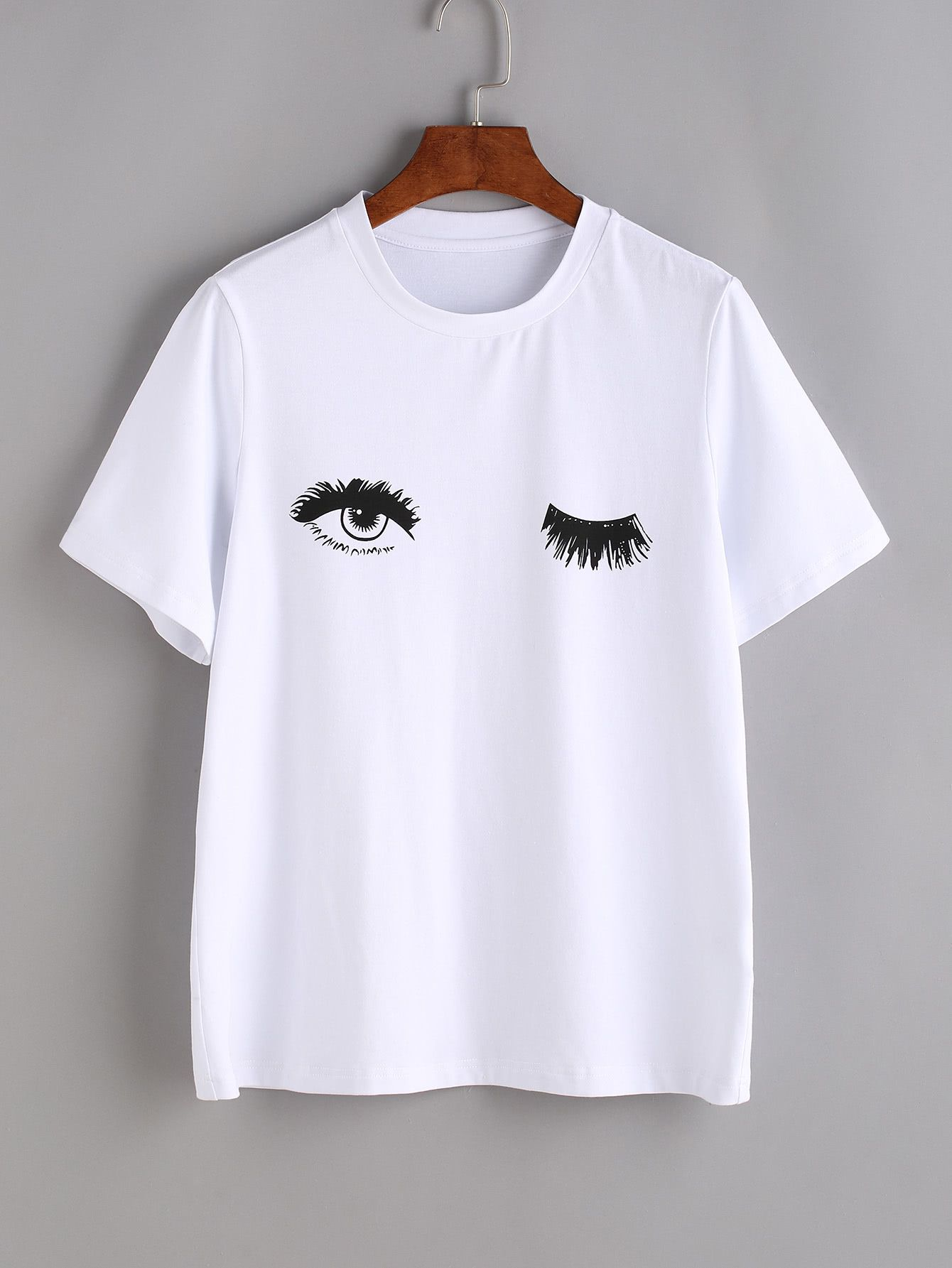 3d13f5fab6 Shop Wink Eyes Print Tee online. SheIn offers Wink Eyes Print Tee   more to  fit your fashionable needs.