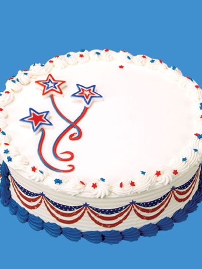 Decorating Idea Patriotic Banner And Stars Round Cake With