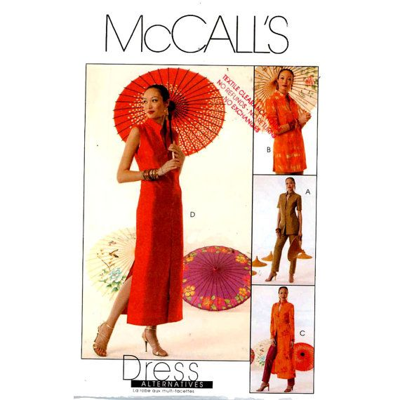 Cheongsam dress duster top pants sewing pattern McCall\'s 4078