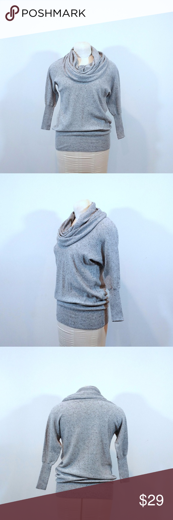 """Cynthia Rowley Grey Cowl Neck Sweater Up for sale in great preowned condition Cynthia Rowley Grey Sweater. Size indicator is missing, please see measurements below.  Check out my closet, bundle and give me your offer!  Measurements: Top to Bottom: 25"""" Bust Area: 15.5""""  All Measurements are approximate and taken flat in the front only. Cynthia Rowley Sweaters Cowl & Turtlenecks"""