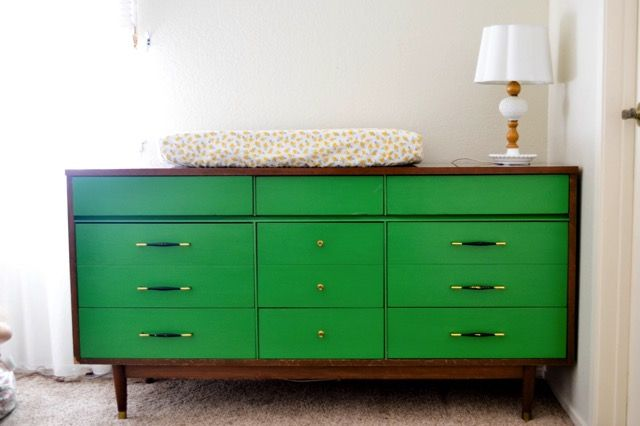 Painted Green Mid Century Dresser Nursery Jpg