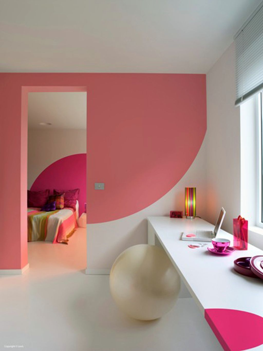 Image Cool Bedroom Paint Designs Half Circle Pink Wall Painting