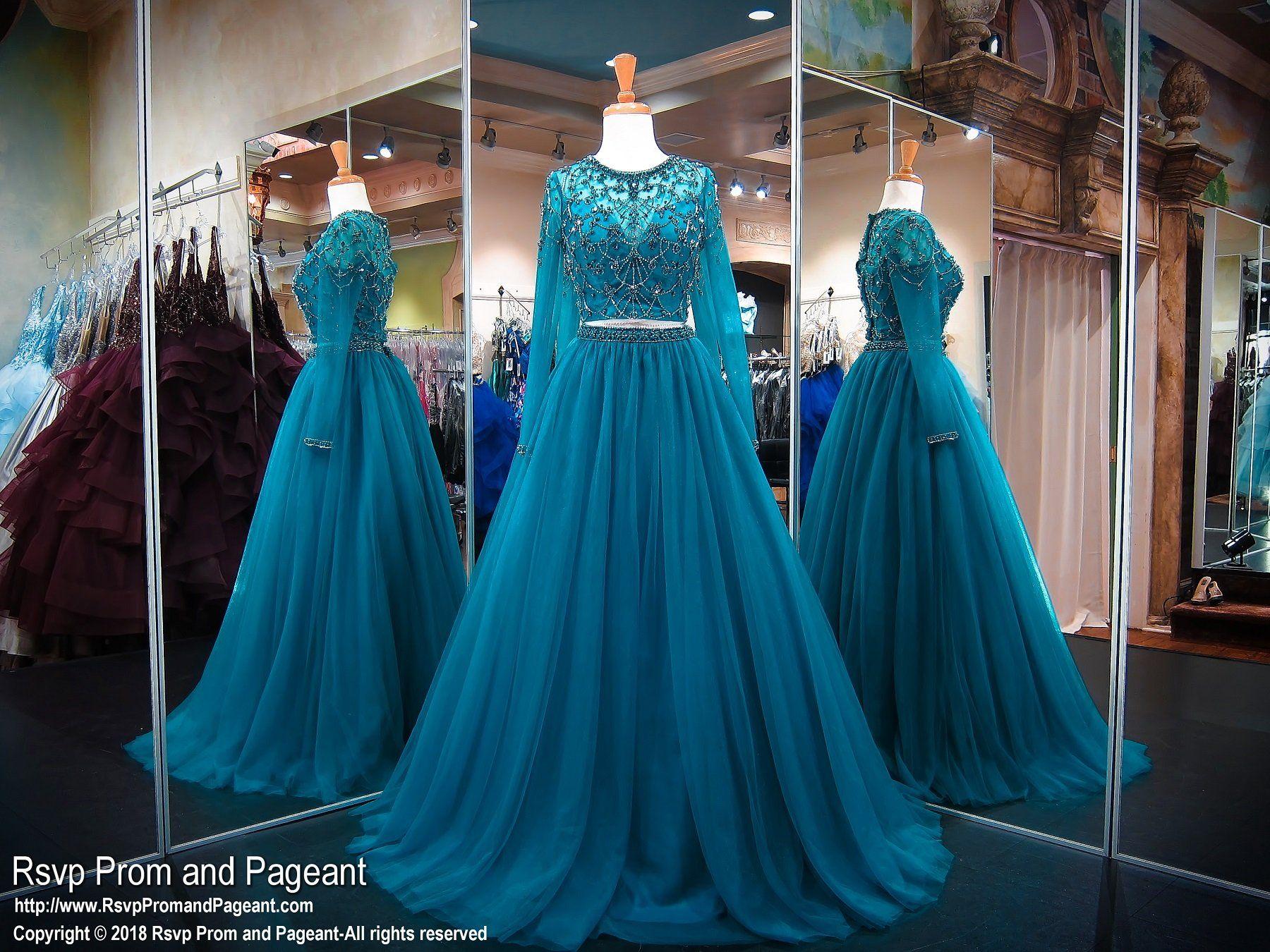 Teal long sleeve two piece ball gown prom dress my fävøurįtè
