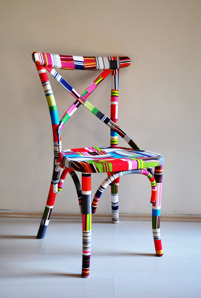 Chair covered in fabric scraps 4 x colorful thonet for Colorful dining chairs