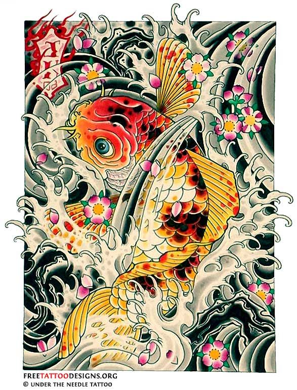 40 Koi Fish Tattoos Japanese And Chinese Designs Japanese Tattoo Koi Fish Tattoo Japanese Tattoo Cherry Blossom