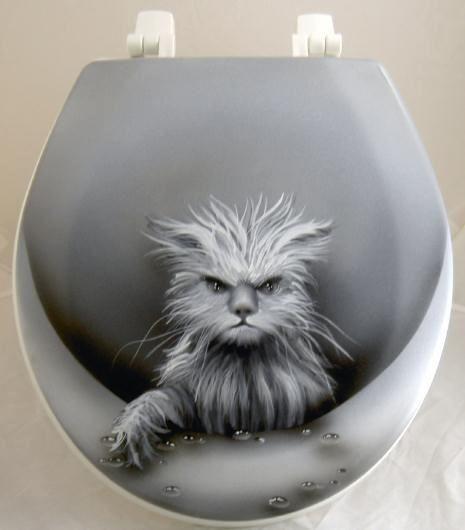 Unusual Cat Decor Mischievous Cat Toilet Seat