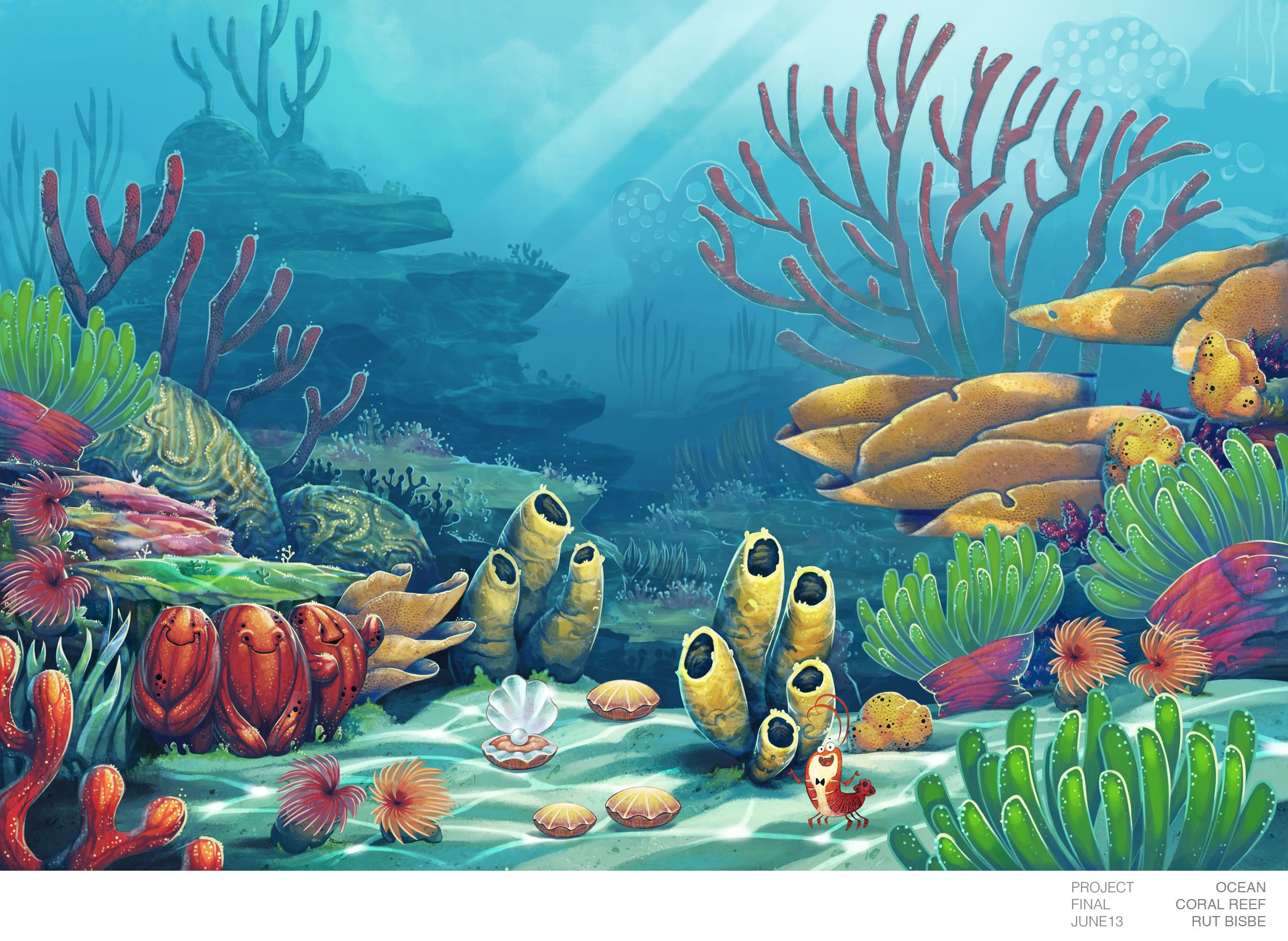 Ocean Animal Final Background from Coral Reef by