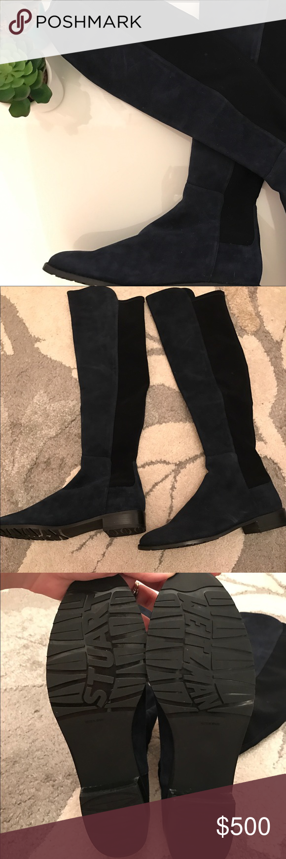 💥Brand New Stuart Weitzman Reserve Boots 💥Brand New💥 Great deal! 100% Authentic Stuart Weitzman boots. Never worn as you can see by the soles of the shoes. No box. Navy Suede and black. Stuart Weitzman Shoes Winter & Rain Boots