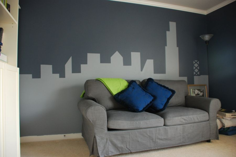 Art monochrome painting wall murals abstract city scape - How to paint murals on bedroom walls ...