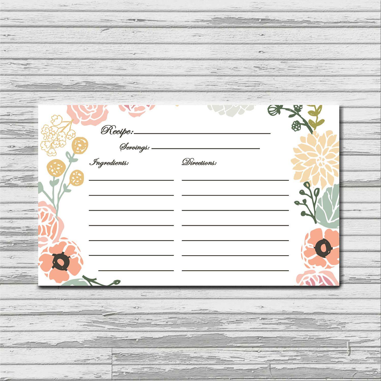 CUTE From Etsy shop bellaloveletters Pastel Flower Recipe Card