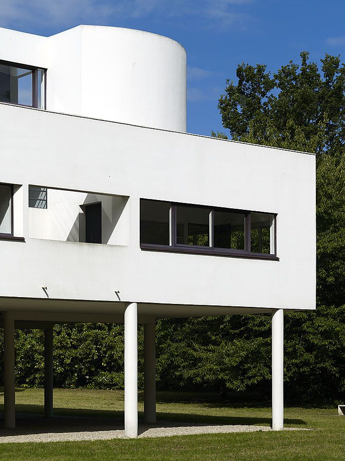 Villa Savoye and gardener's lodge, Poissy, France.1928. Le Corbusier