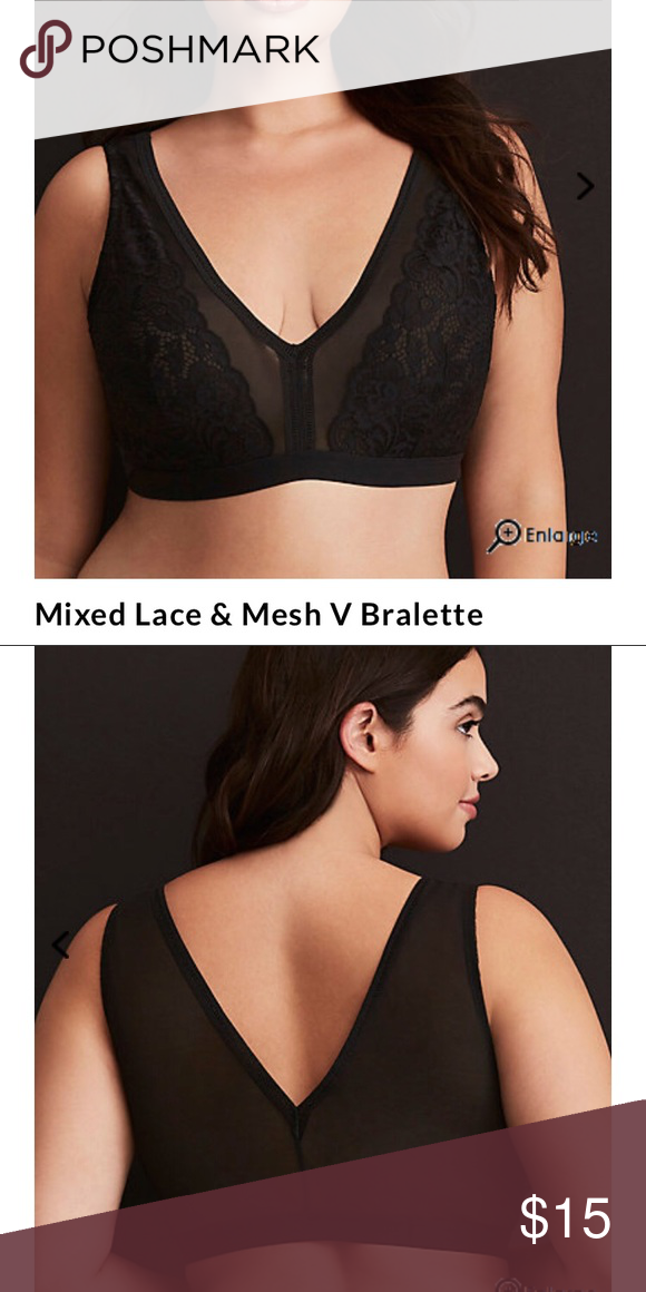 3f199da3adc48 TORRID bralette Black Mix V Neck lace mesh bralette Buh-bye shirts! We