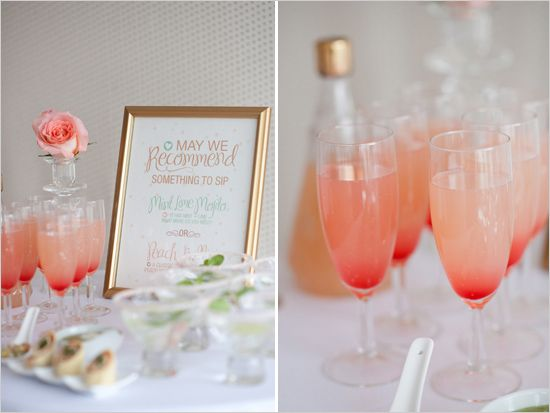 21 gorgeous signature cocktails to serve at your next party signature wedding cocktails peach bellini and mint lime mojito junglespirit Gallery