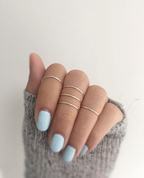 5 nudillos de plata anillos de plata, anillo de conjunto, conjunto de anillos de 5, nudillo, alambre de joyería, anillos de plata, apilamiento juego de anillo de 5, anillos ajustables del anillo midi
