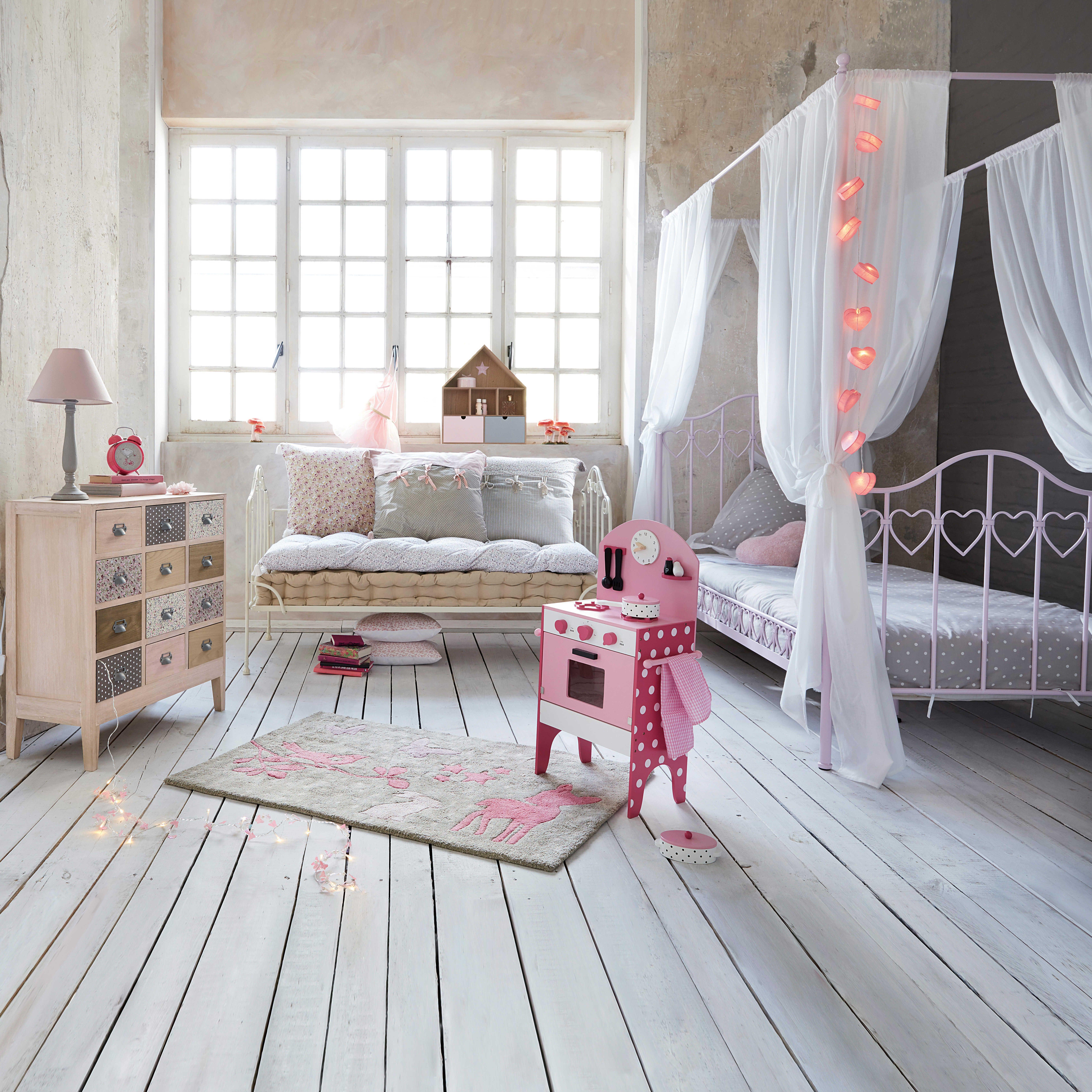 Lit à baldaquin 90x190 en métal rose | kids decor...toys ...