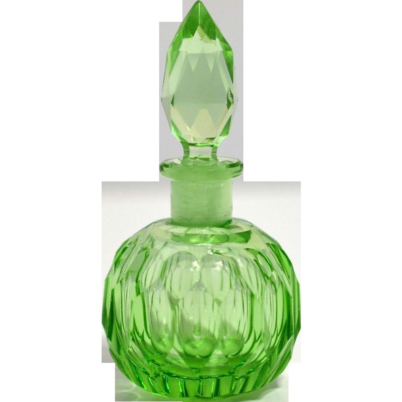 Czechoslovakia Green Gut Glass Perfume Bottle Perfume Bottles Pretty Perfume Bottles Glass Perfume Bottle
