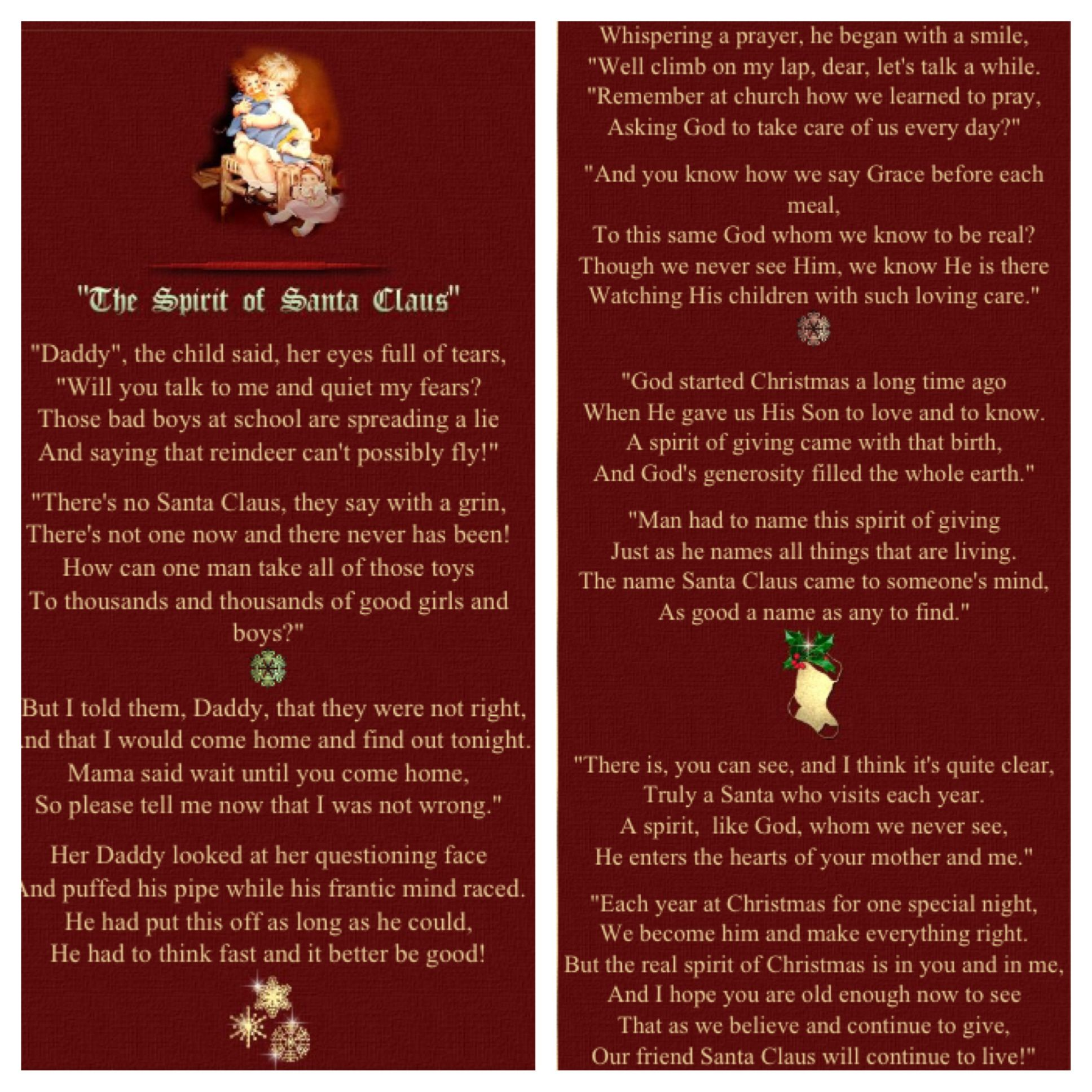 The spirit of santa claus poem celebrate christmas