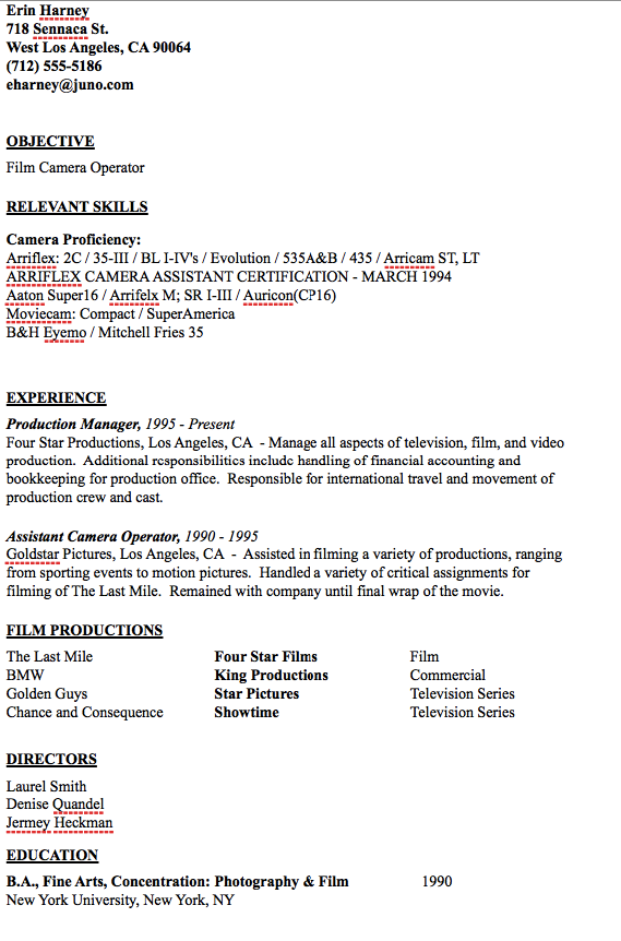 Driver Resume Camera Operator Resume Sample  Httpresumesdesigncamera