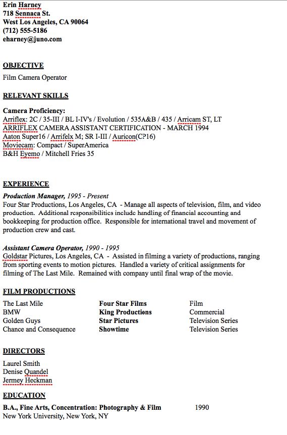 Camera Operator Resume Sample Resumesdesign Sample Resume Templates Resume Resume Template Examples
