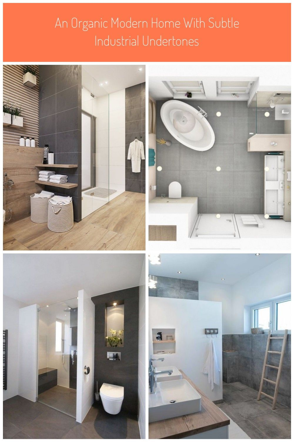 Wood And Dark Grey Bathroom Tiles Badezimmer Aufteilung 10qm An Organic Modern Home With Subtle Industri In 2020 Dark Gray Bathroom Organic Modern Grey Bathroom Tiles