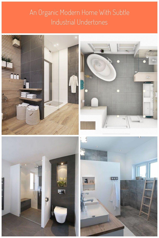 Wood And Dark Grey Bathroom Tiles Badezimmer Aufteilung 10qm An Organic Modern Home With Subtle Industri In 2020 Dark Gray Bathroom Organic Modern Grey Bathroom Tiles