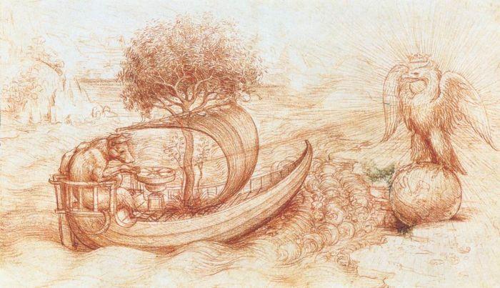 Allegory with wolf and eagle by Leonardo da Vinci #art