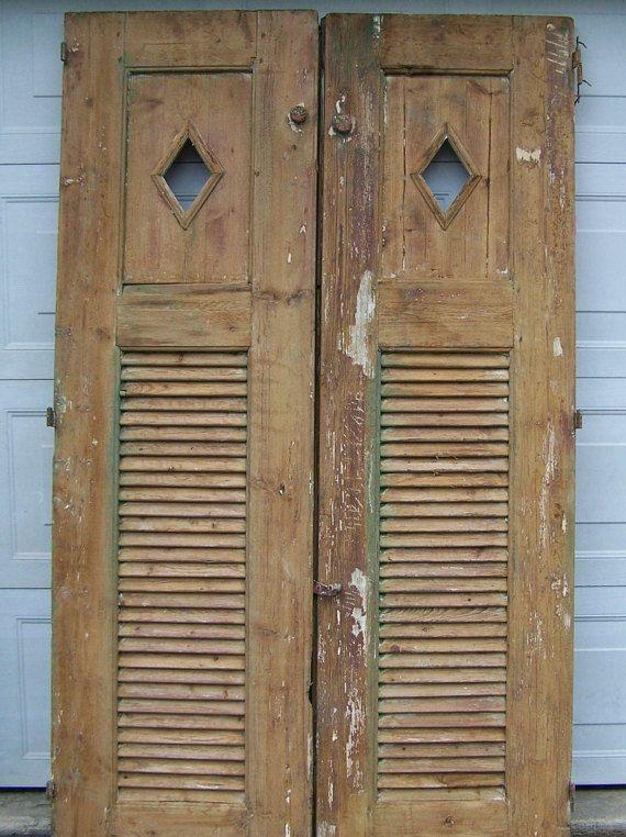 Vintage Mediterranean Wood Doors With Shutter Accent Decorative Rustic Wood Doors Salvage Two Panel Door Rustic Wood Rustic Wood Doors Wood Doors Wooden Doors