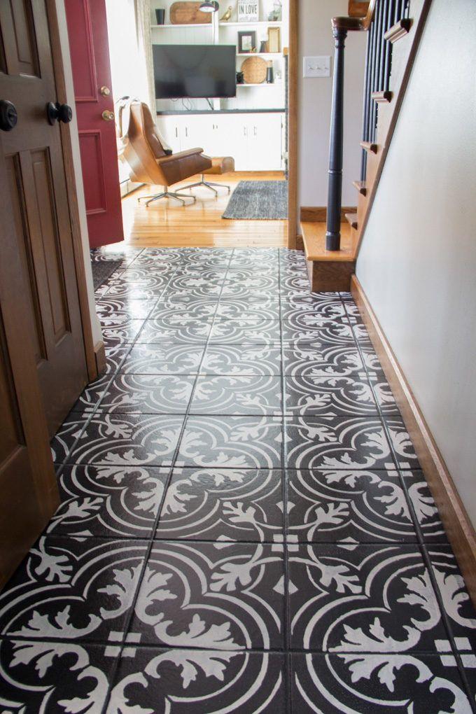 Faux Cement Tile Painted Floors Diy Painted Floors Painting Tile Painting Tile Floors