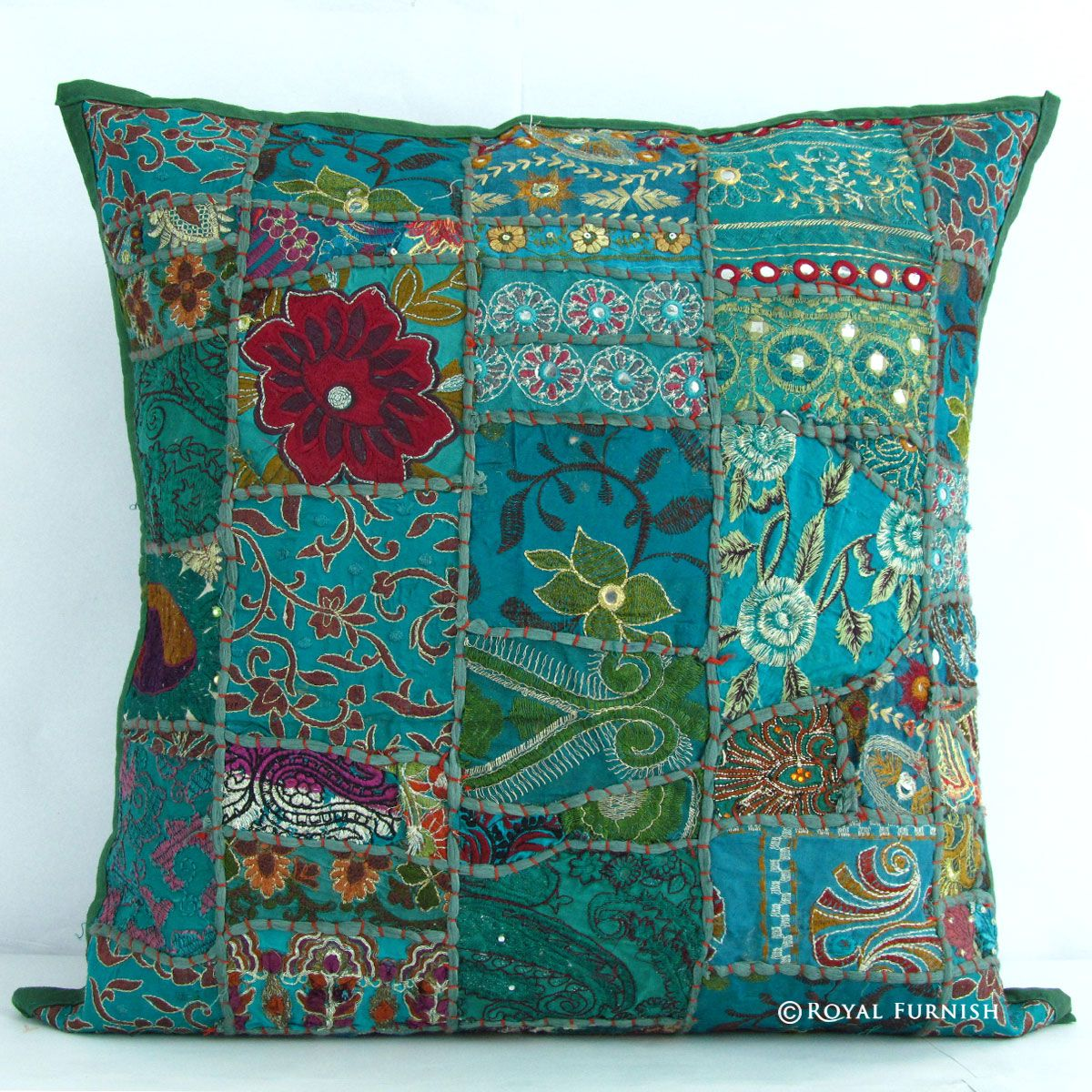 """17"""" Gray Green Vintage Patchwork Indian Throw Pillow Cover on ..."""