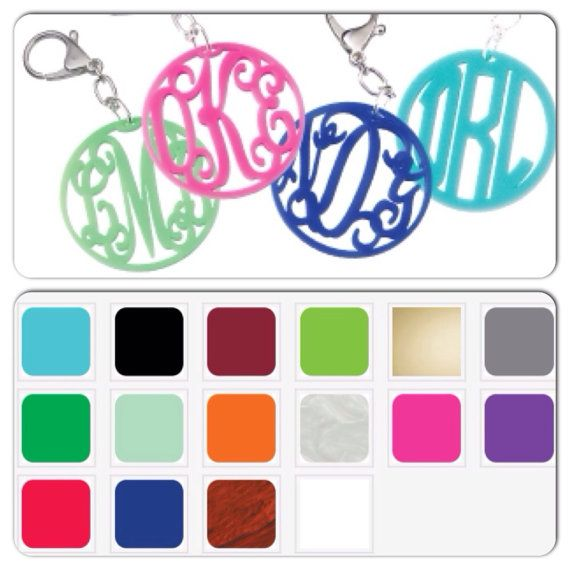 Acrylic Monogrammed Keychain ~ Personalized Key Chain ~ SWEET 16 ~ Bridemaid Gift ~ Luggage Tag ~ GREAT Gift Idea ~ Stocking Stuffer