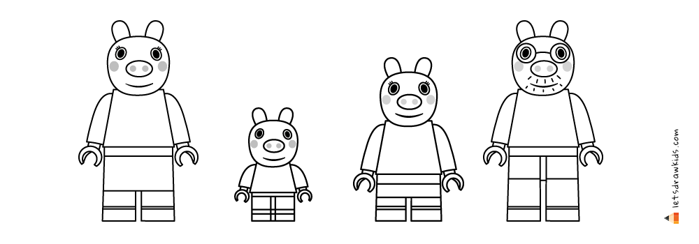 Peppa Pig Drawing Lego Peppa Pig George Pig Mummy Pig Daddy Pig In 2020 Coloring Pages For Kids Coloring Pages Peppa Pig Drawing