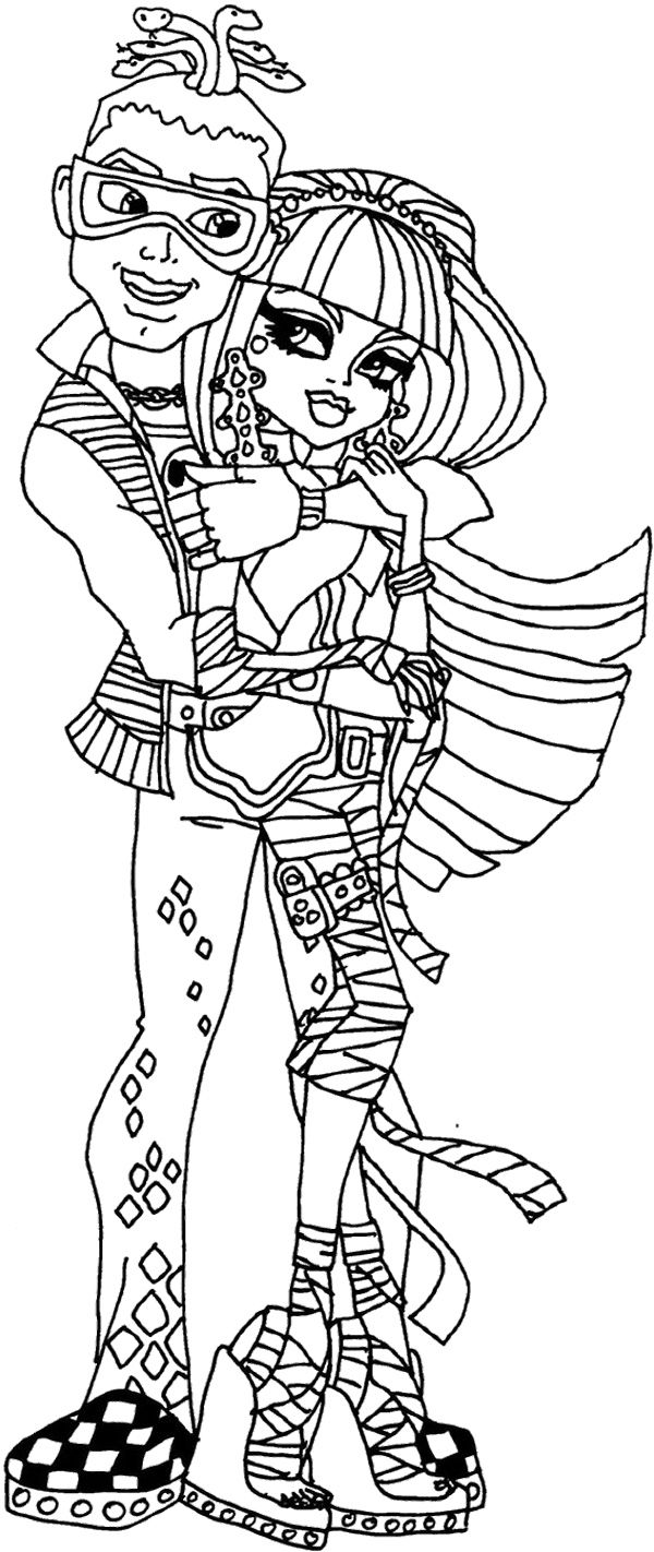 monster high deuce gorgon cuddle coloring page monster high