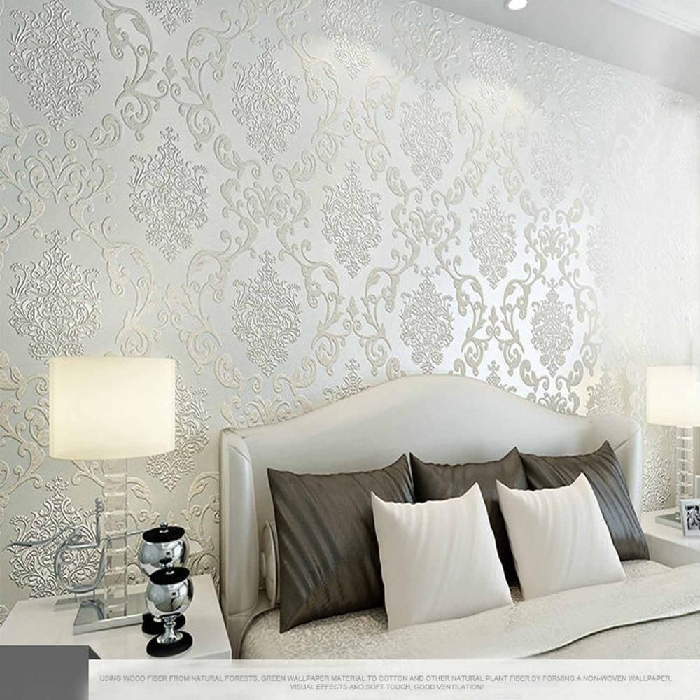 Best 10m Many Colors Luxury Embossed Textured Wallpaper Non Woven Decal Wall Paper Roll Master Bedroom Wallpaper Damask Wallpaper Bedroom Master Bedrooms Decor
