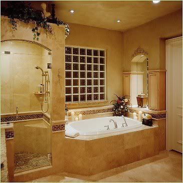 Bathroom Windows Over Shower sideside shower and tub, frosted glass cubes over tub instead