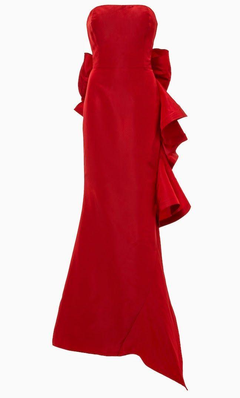 705edde728 The Daily Frock  Oscar de la Renta Strapless Ruffle and Bow-Back Crimson  Silk Taffeta Gown