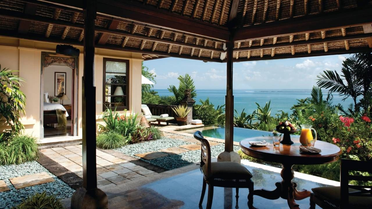 Four Seasons Jimbaran Bay Bali Indonesia Incredible Hotel Indoor Outdoor Living Area With Your Own Plunge Pool Beaut Bali Resort Outdoor Living Areas Bali