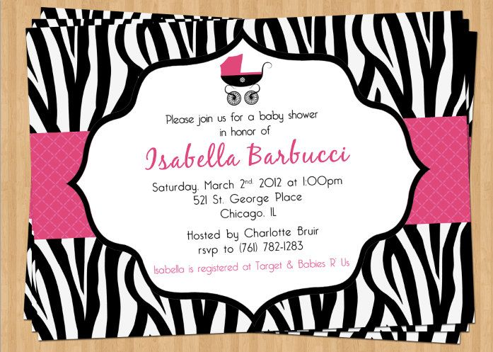 Zebra print baby shower invitation pink polka dot stripe custom zebra print baby shower invitation pink polka dot stripe custom color and wording party stopboris