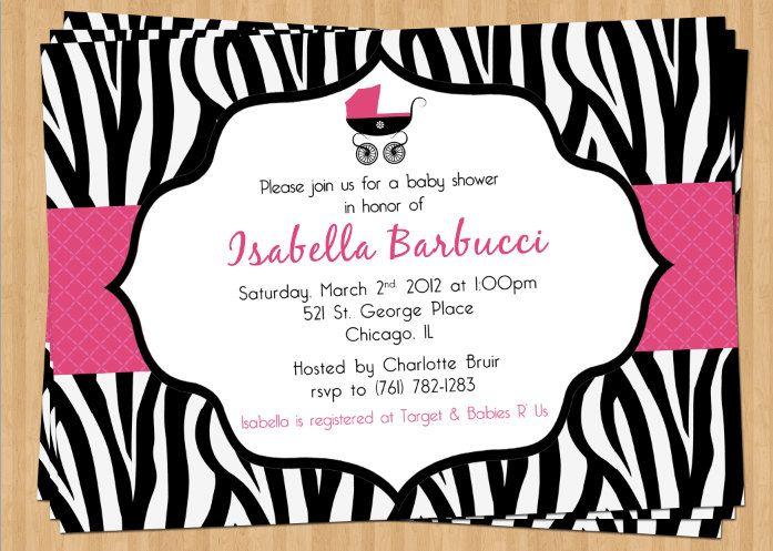 Zebra Print Baby Shower Invitation Pink Polka Dot Stripe