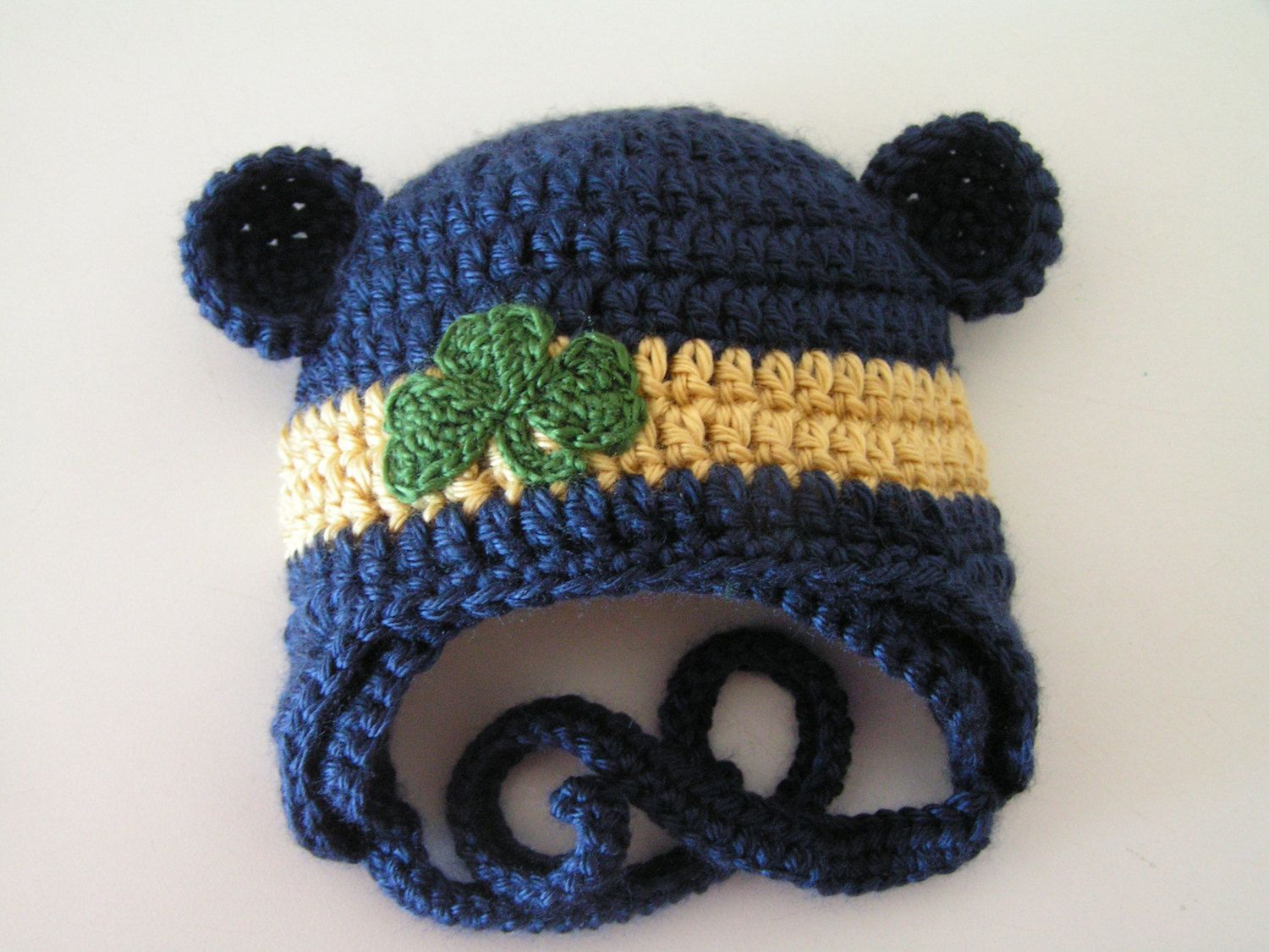 0d3c3526dab Baby hat for Newborn to 18 months Notre Dame Irish or Chicago with bear ears