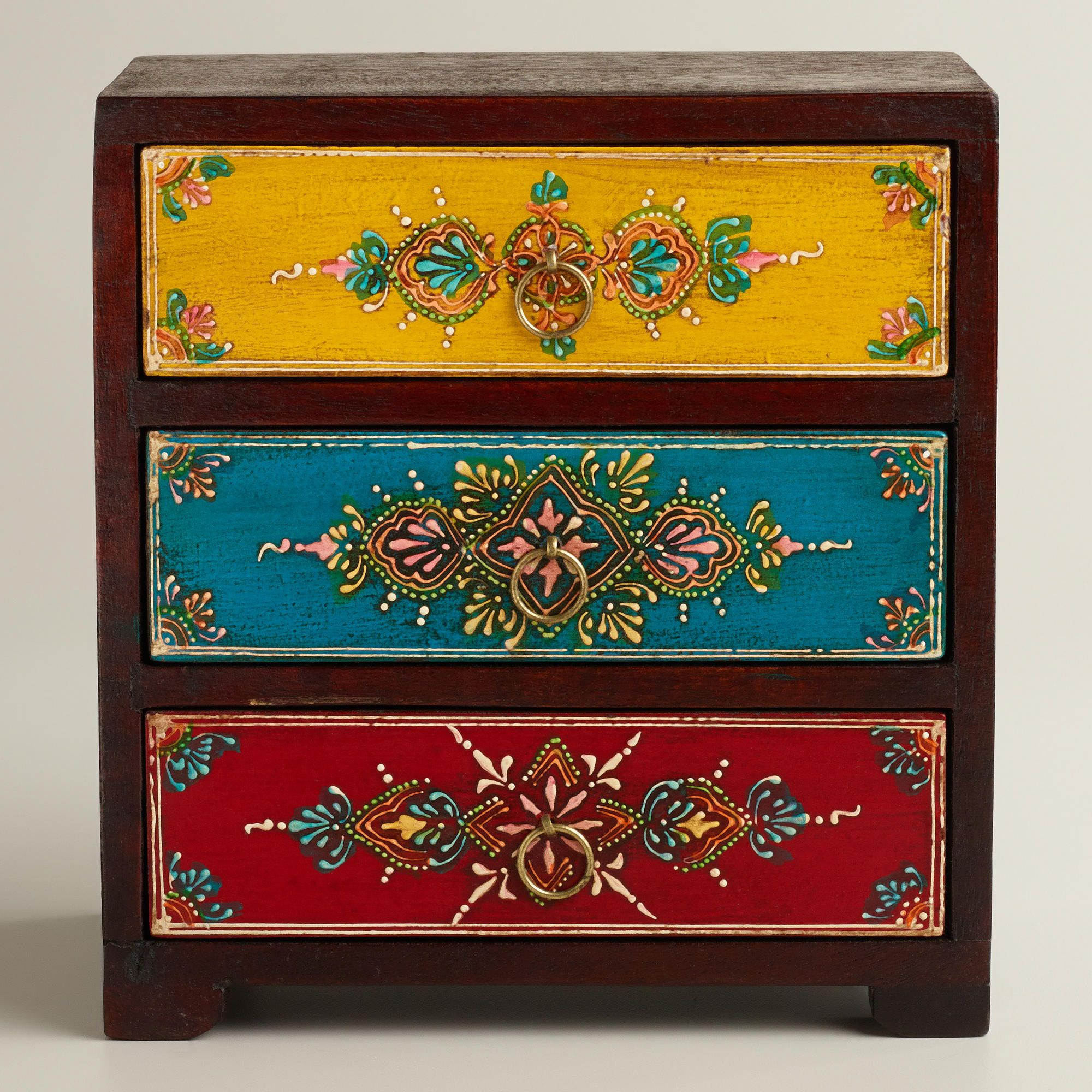 Multicolor Painted 3 Drawer Chest