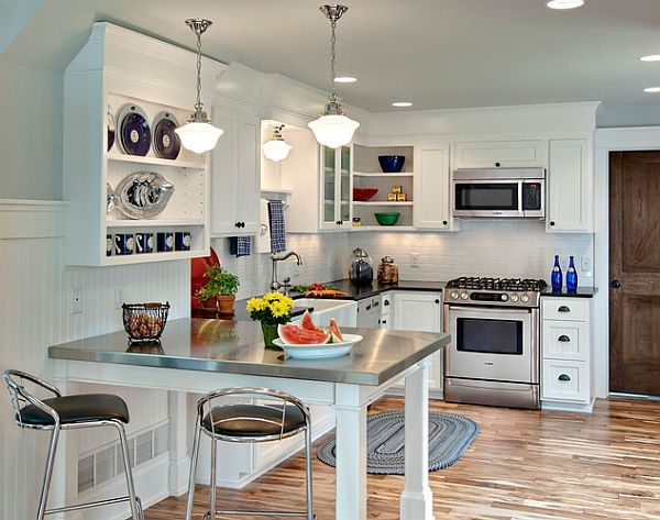 Small L Shaped Kitchens small l-shaped kitchen with stainless countertop table traditional