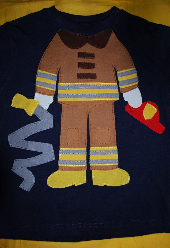 Fireman uniform applique tshirt by curiosew on Etsy, $28.00